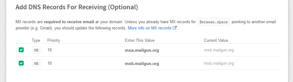 Mailgun MX Record